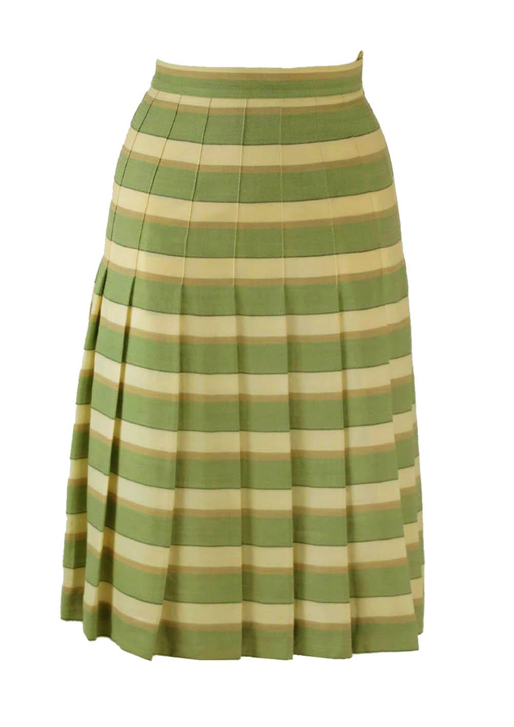 e74bd9b1440f5a Wool Pleat Skirt with Green, Cream & Beige Stripe Detail – S – Reign ...