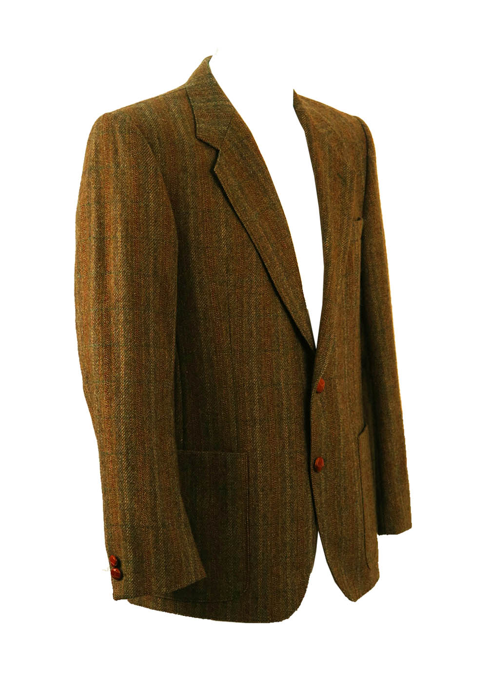 Olive green grey russet wool check tweed jacket l xl - Olive green and grey ...