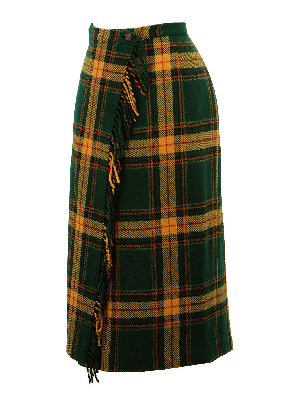 Pure Wool Green Amp Yellow Tartan Skirt M Reign Vintage