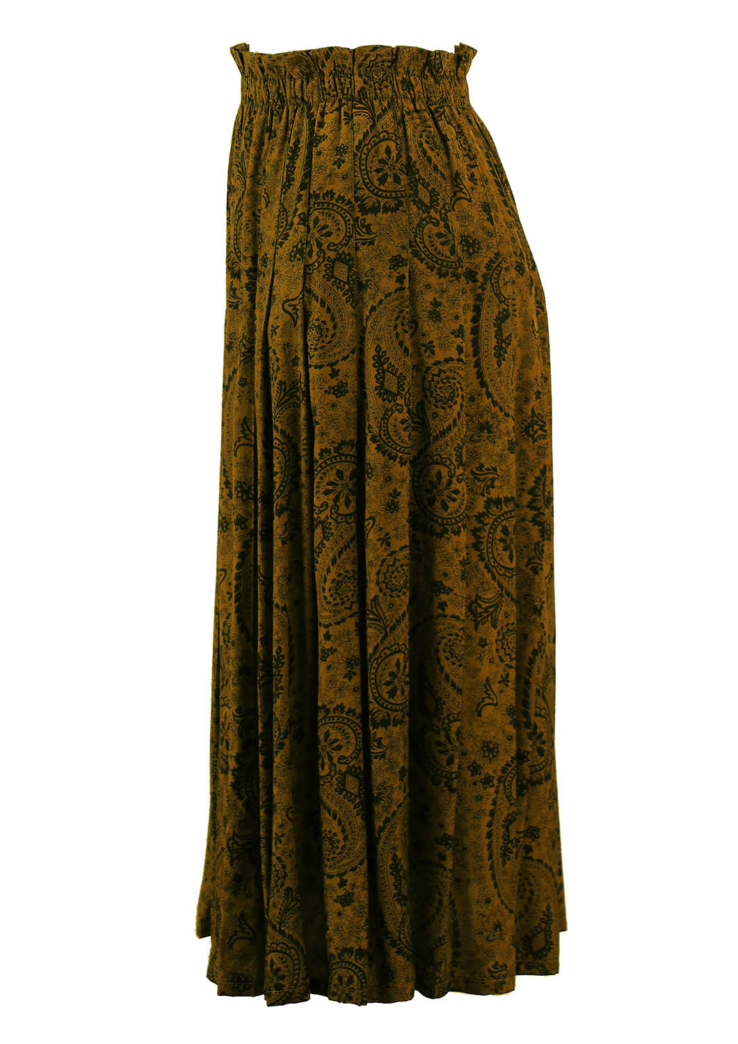 Olive Green Pleated Skirt With Paisley Design S Reign