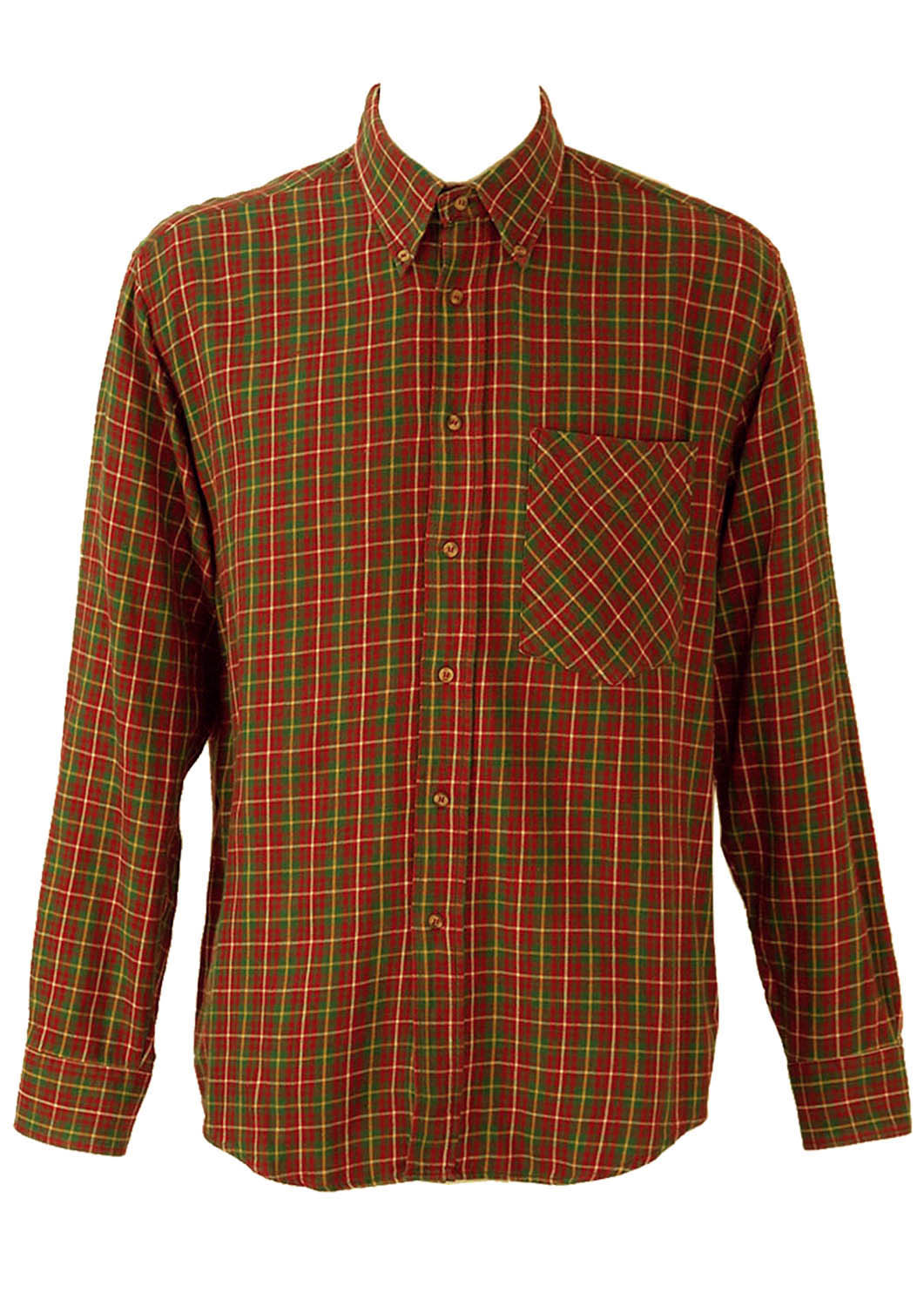 Red green and yellow tartan style checked flannel shirt for Red and green checked shirt