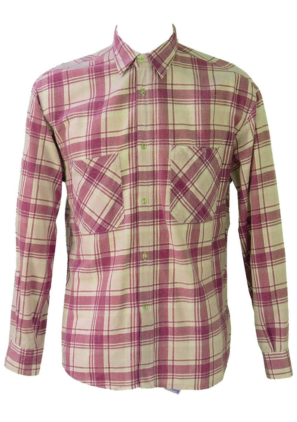 Purple And White Checked Flannel Shirt L Reign Vintage