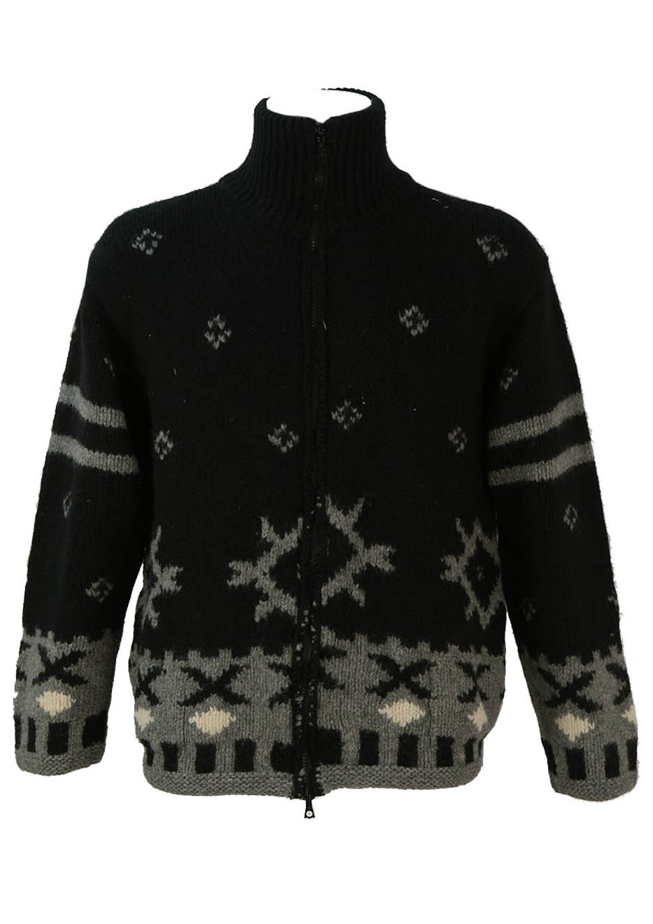 661d3509b84 Chunky Black and Grey Nordic Style Zip Front Wool Cardigan – L XL ...