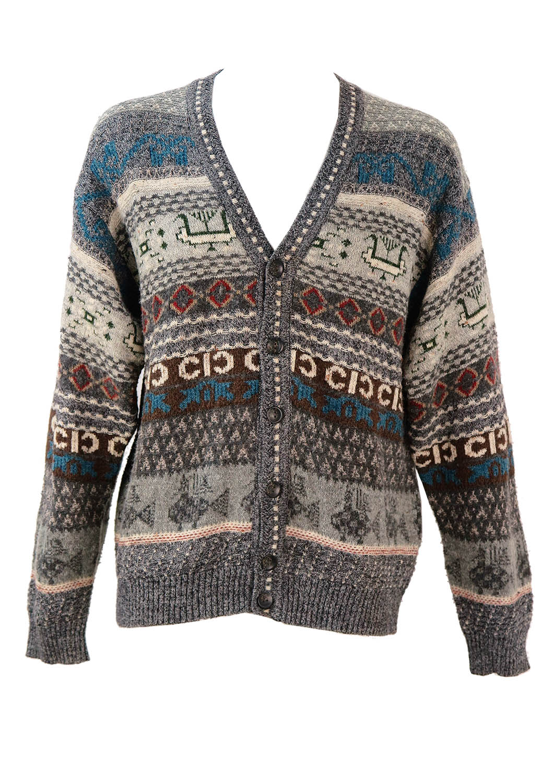 Xl Sweater Knitting Pattern : Grey knit cardigan with brown blue cream pattern l xl
