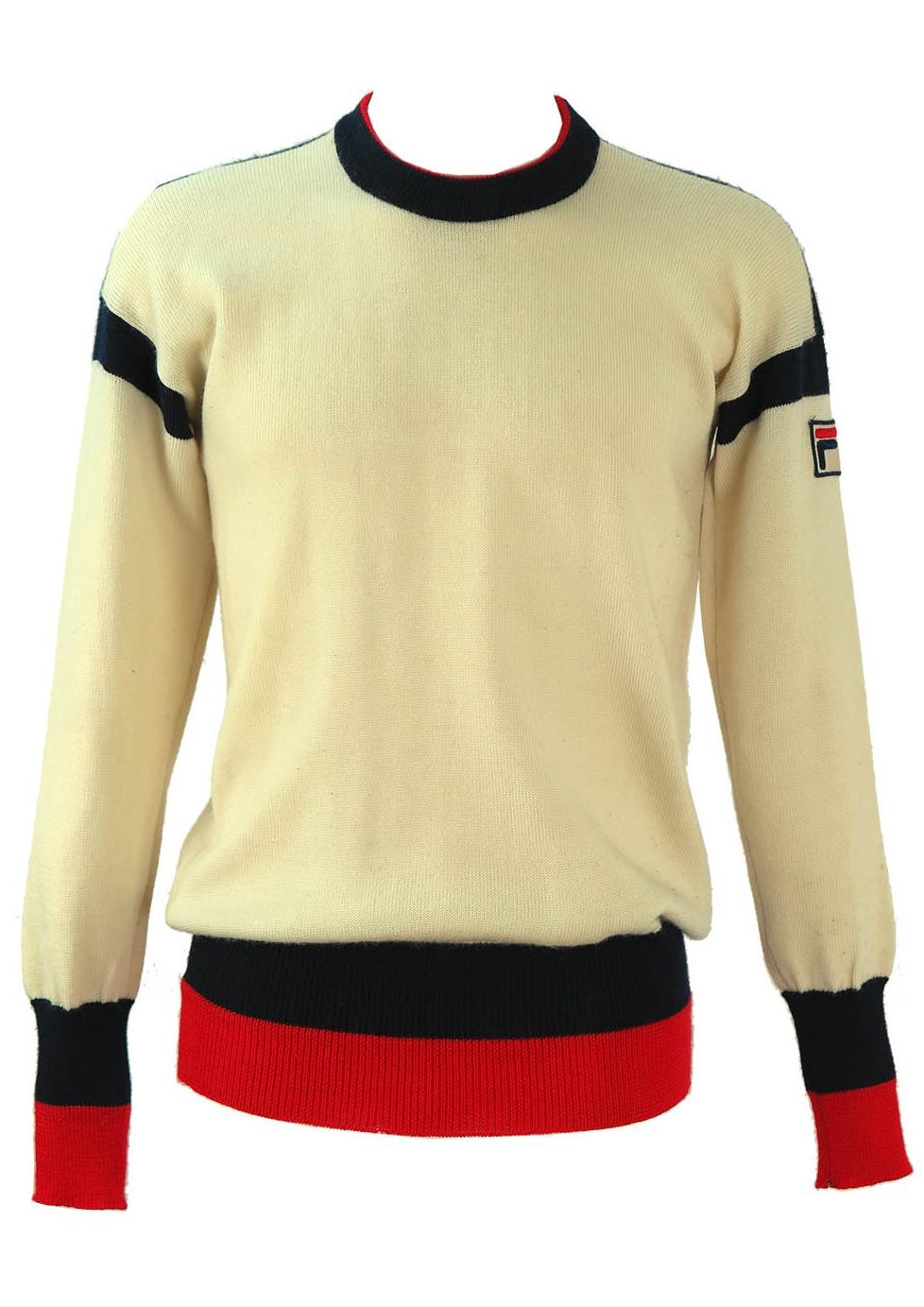 31088cc4b3f0 Vintage Fila Cream Wool Jumper with Blue and Red Edging – M – Reign ...