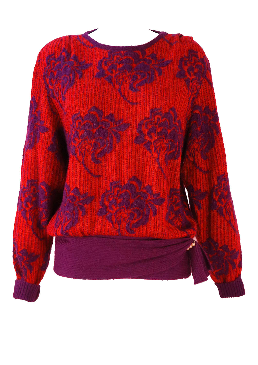 1c95d5affc011 Vintage 1980 s Red and Purple Floral Pattern Jumper – M L