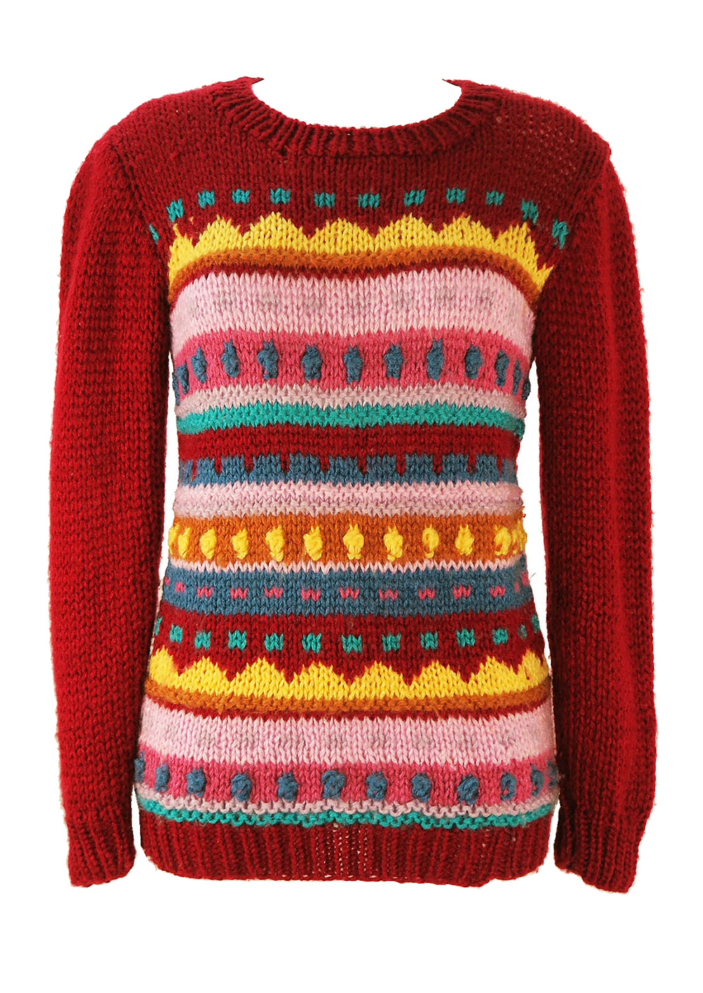 b91f1ddcbbf8fe Burgundy Knit Jumper with Multi Colour Striped Pattern – S – Reign ...