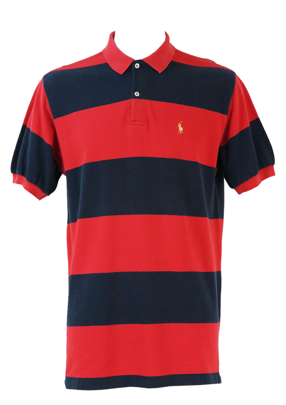 Polo by ralph lauren blue red striped polo shirt l for Red white striped polo shirt