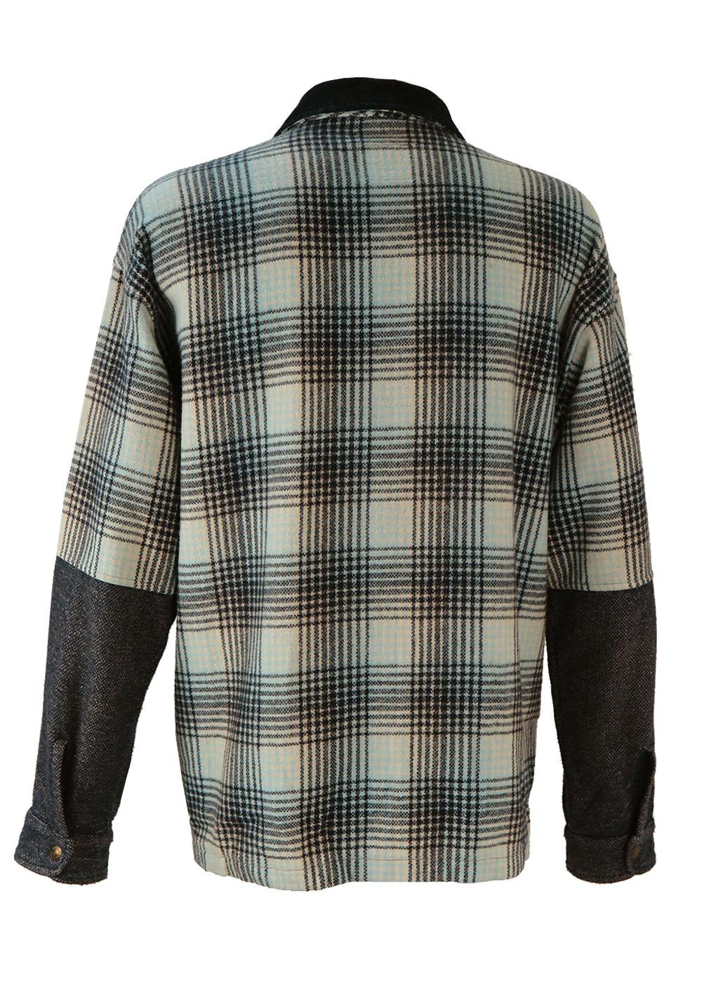 Shirt jacket design - Levis Blue Check Shirt Jacket With Corduroy Collar Xl Xxl Reign Vintage