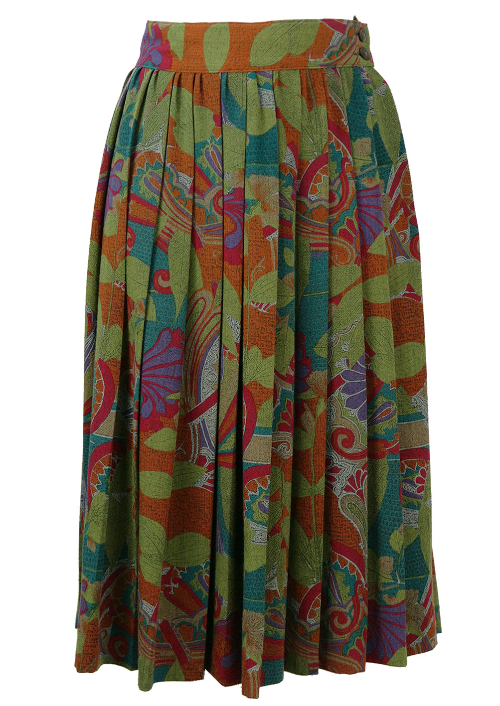 Midi Pleated Skirt with Abstract Floral Pattern – S/M ...