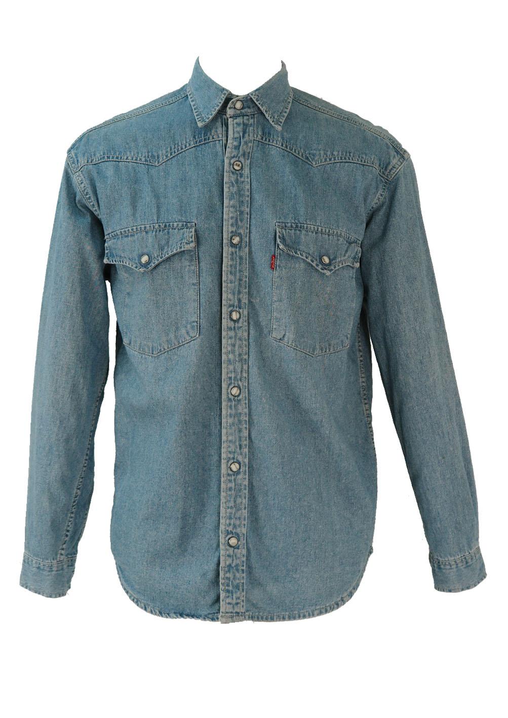 Levis Light Blue Denim Shirt M L Reign Vintage