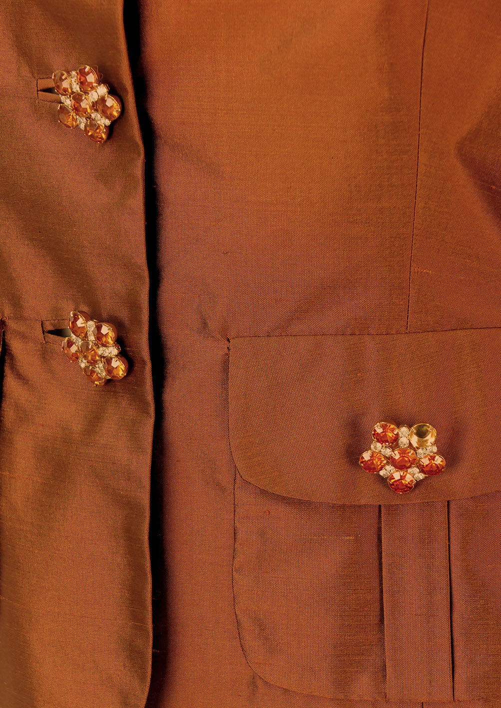 0c2a728e93 Luisa Spagnoli Pure Silk Brown Jacket with Jewelled Buttons - S/M. Touch to  zoom