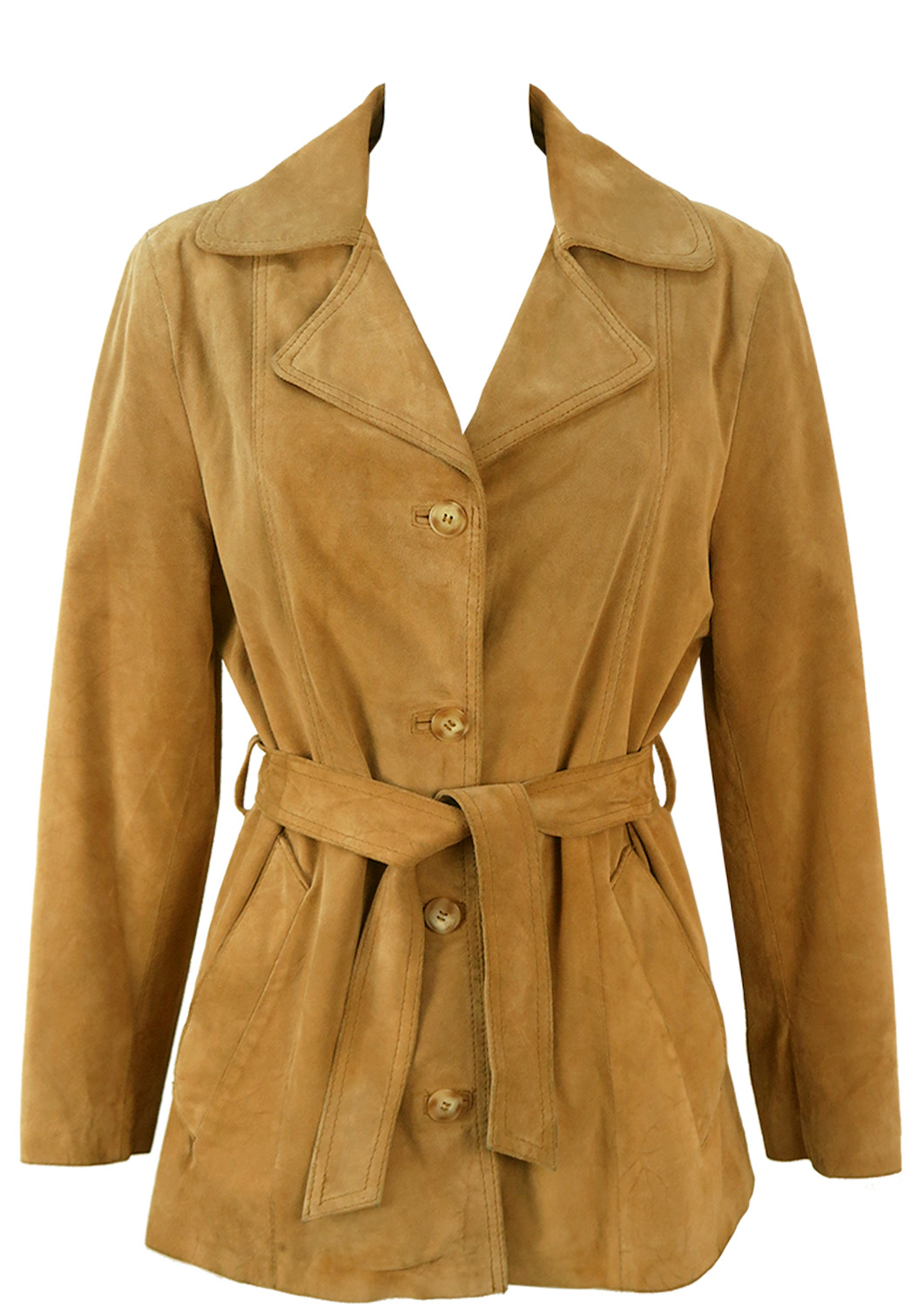 Light Tan Suede Belted Jacket – M/L – Reign Vintage