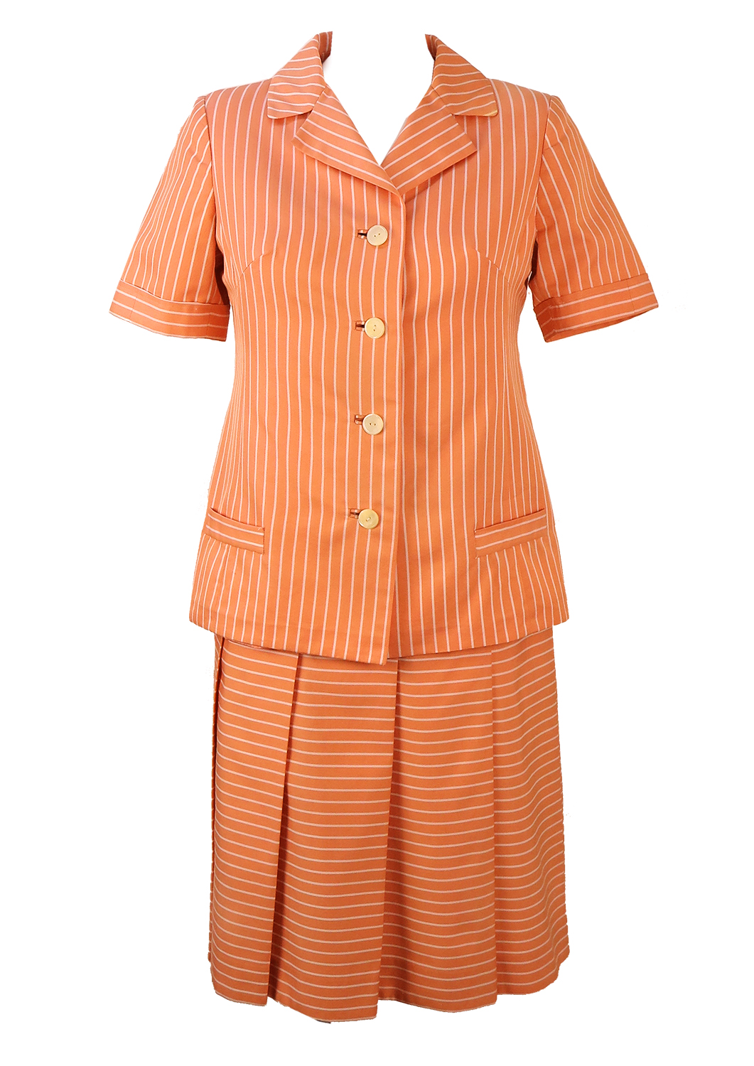 72057b53ca129 Vintage 1960 s Pink   White Striped Skirt and Jacket Two Piece – XS ...