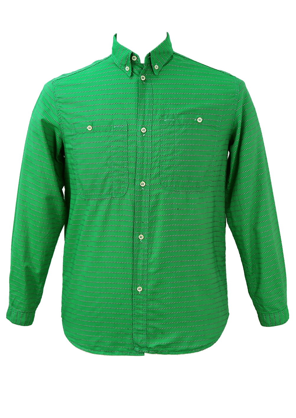 Emerald green shirt with green white embroidered stripes Emerald green mens dress shirt