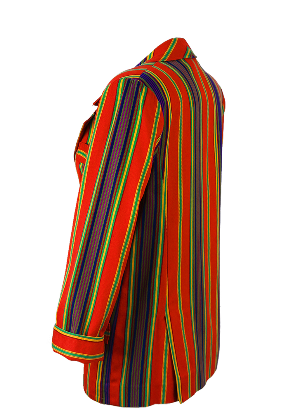 Gianni Versace Red Multi Coloured Striped Blazer S M