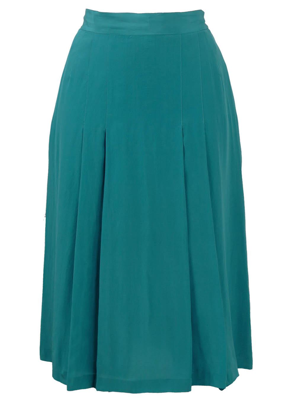 pancaldi b blue silk pleated midi skirt s vintage