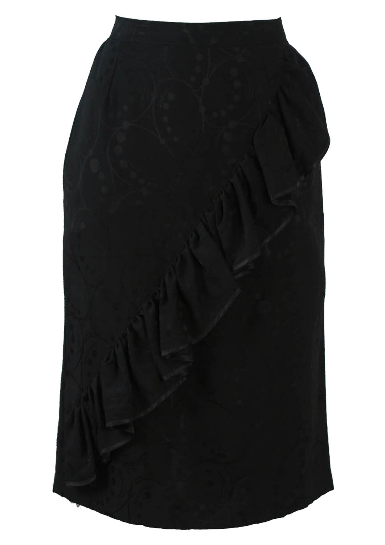 ae5db5d4b Black Ruffle Detail Knee Length Pencil Skirt with Circle Graphic – S ...
