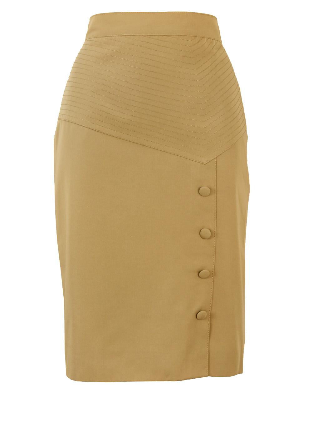 ab2e00a2125 Knee Length Fawn Coloured Pencil Skirt with Asymmetric Waistband – S ...