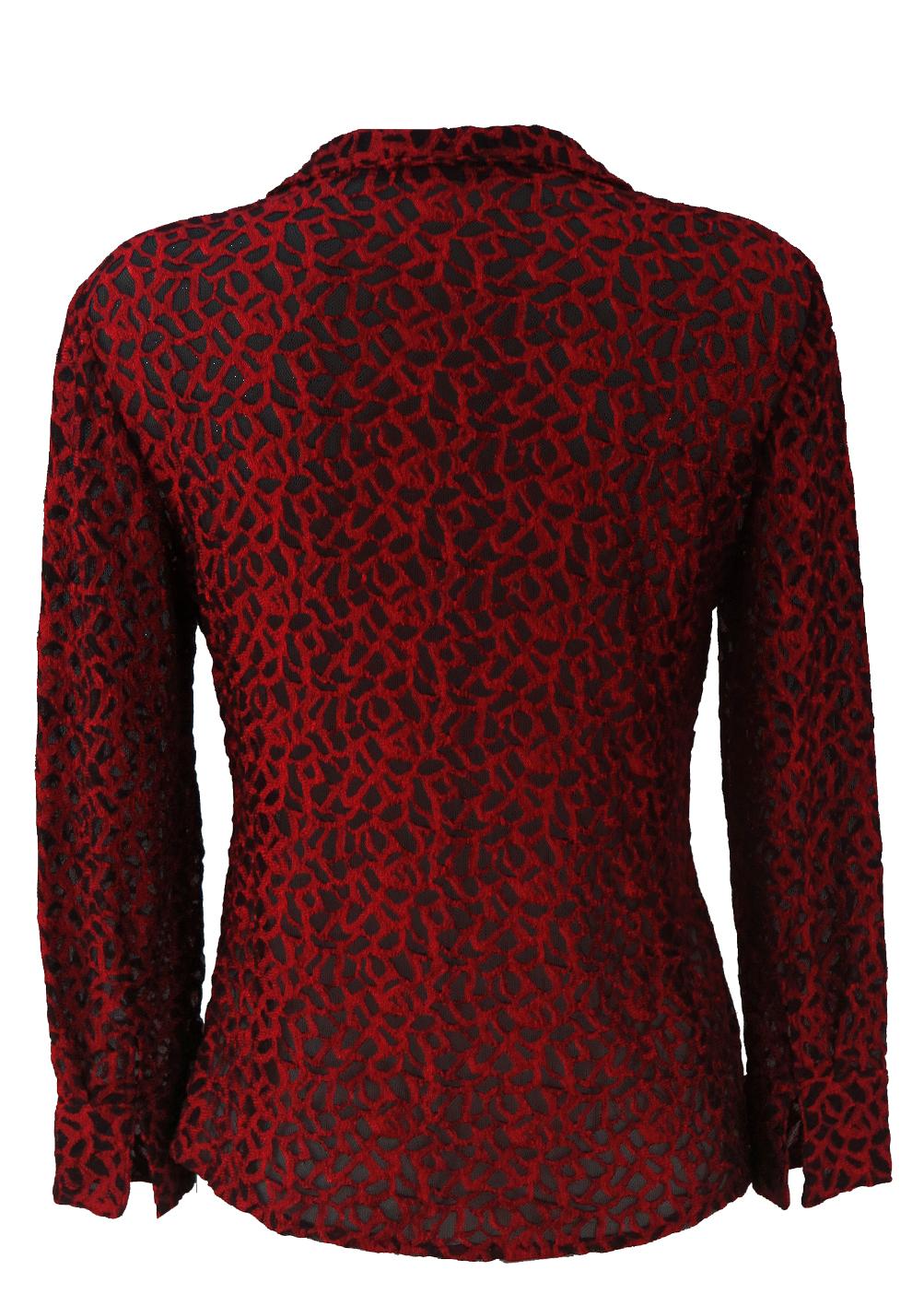 13d7534de4ba6 Semi Sheer Red & Black Patterned Stretch Net Blouse – M. Semi Sheer Red & Black  Patterned Stretch Net Blouse ...