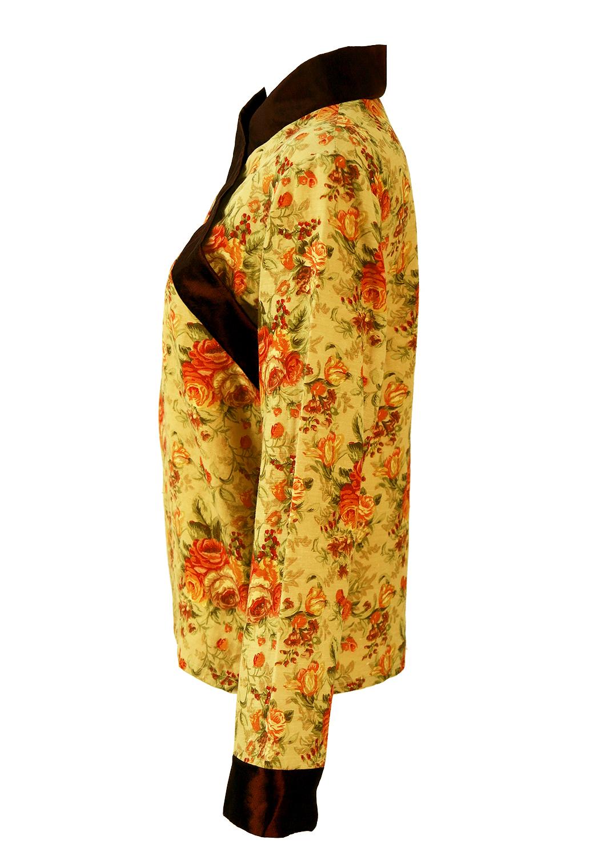 Kimono Style Orange Amp Brown Floral Silk Top M Reign