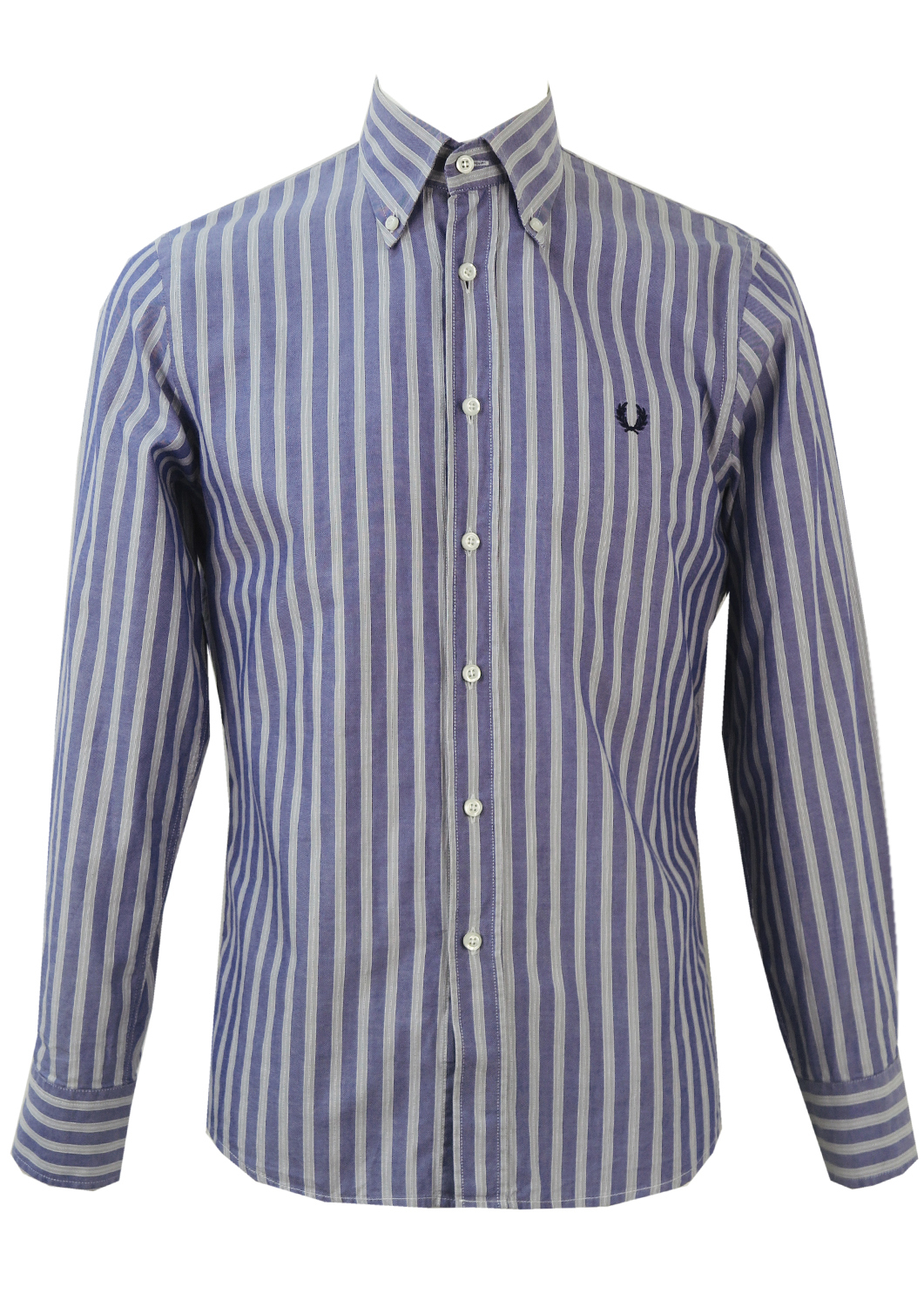 45fe79a4f Fred Perry Blue and Grey Striped Shirt – L – Reign Vintage