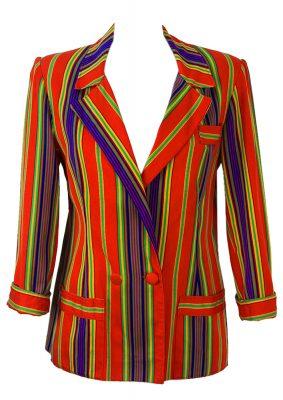 Gianni Versace Red Multi-Coloured Striped Blazer – S/M