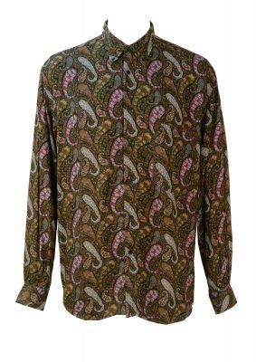 Vintage 1990's Shirt with Blue, Purple & Beige Paisley Print – M/L