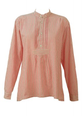 Red and White Striped Tyrolean Smock-Style Blouse – L/XL