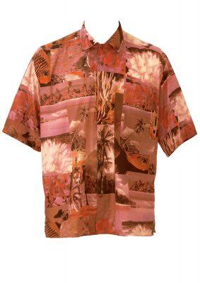 Short Sleeved Orange & Pink Photographic Beach Print Shirt – L/XL