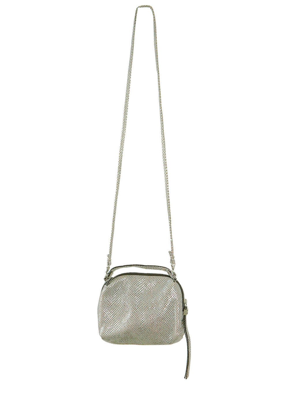 Leather Silver Amp Taupe Snakeskin Style Cross Body Shoulder