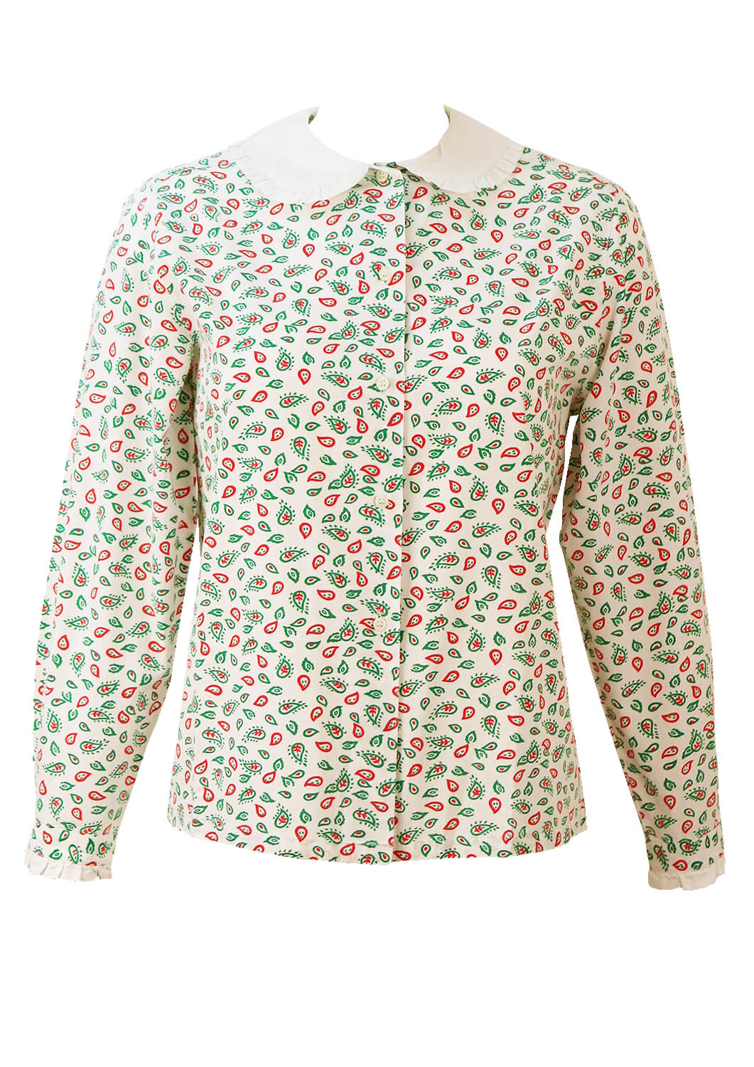 White blouse with green red paisley pattern peter pan for Peter pan shirt pattern