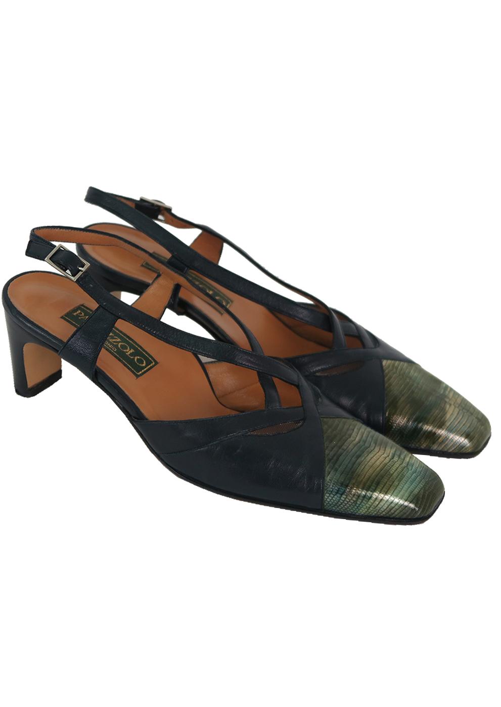b57daca031d9d Navy Blue Leather Slingback Mid Heel Shoes with Metallic Coloured Toecap -  UK 4.5