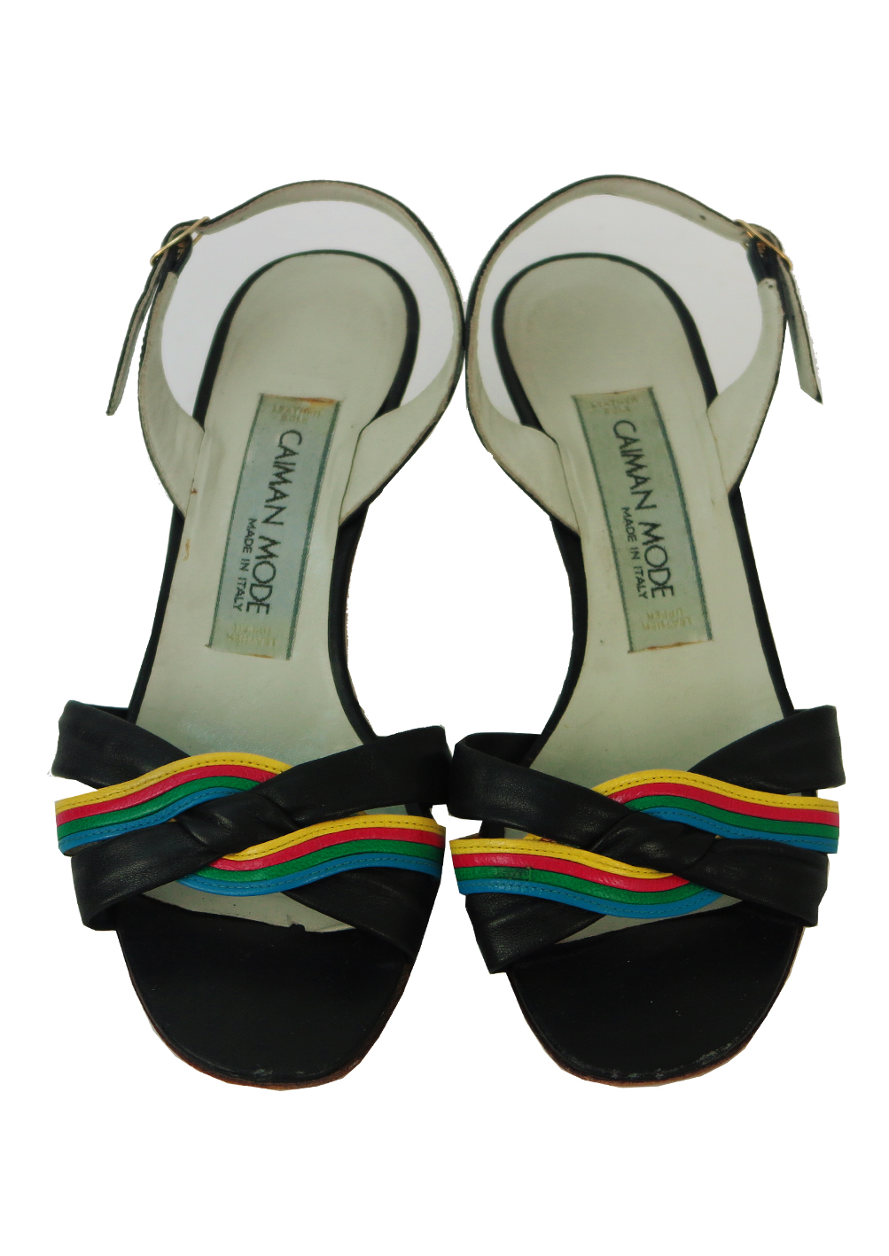 949978c8e Black Leather Slingback Low Heel Sandals with Rainbow Toe Strap Detail - UK  Size 3.5. Touch to zoom