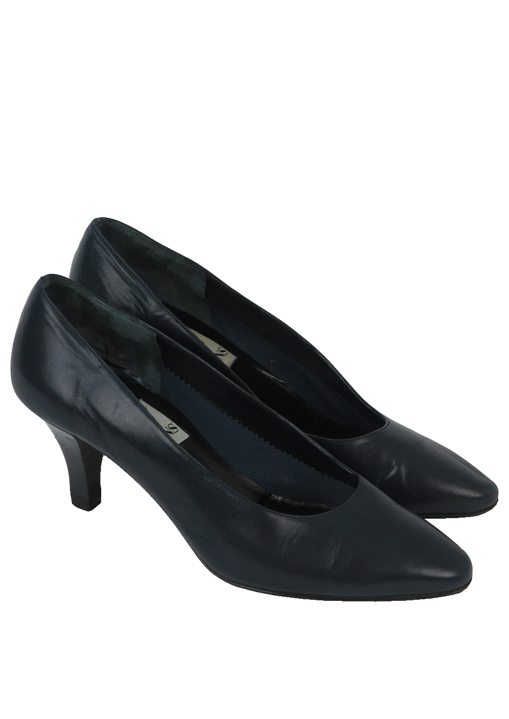 Navy Blue Mid Heel Leather Court Shoes Uk Size 3