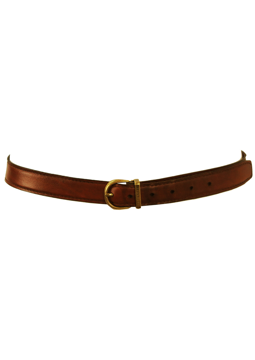 the bridge brown leather belt with gold buckle