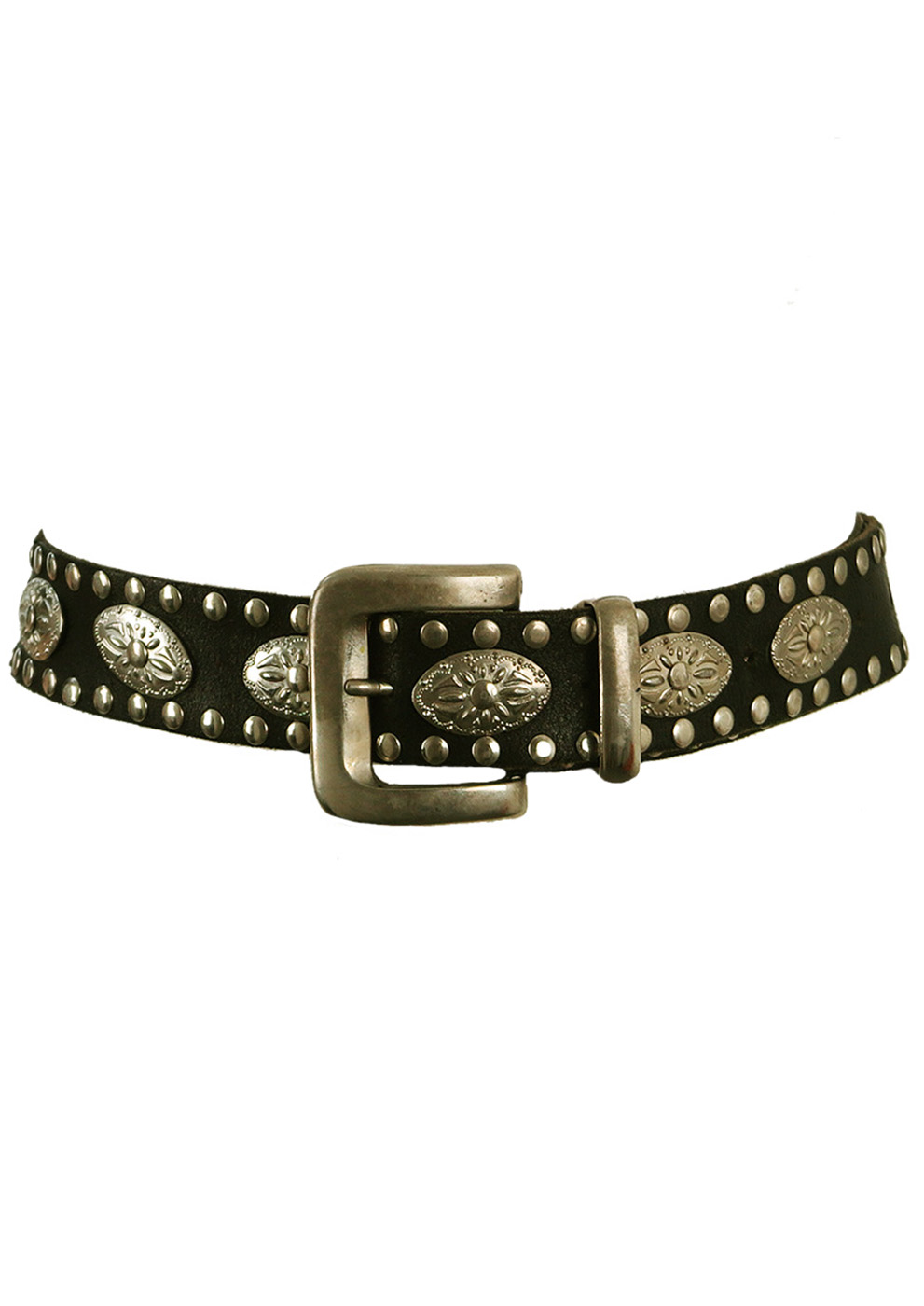 Black Leather Belt With Silver Stud Edging Decorative