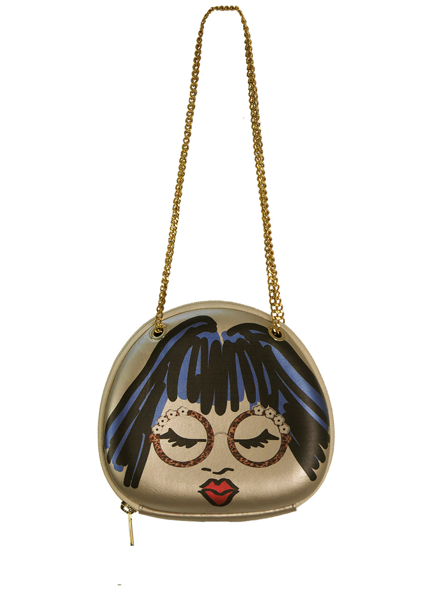 Metallic Silver Structured Bag With Marker Pen Style Face