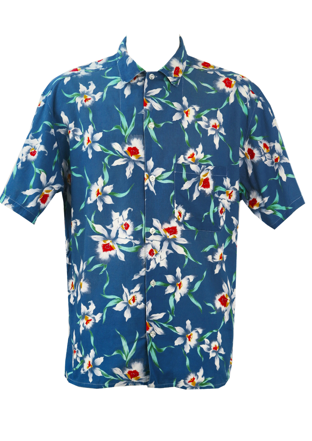 0a7cc0301 Blue Hawaiian Shirt with White, Red & Green Floral Print – XL/XXL ...