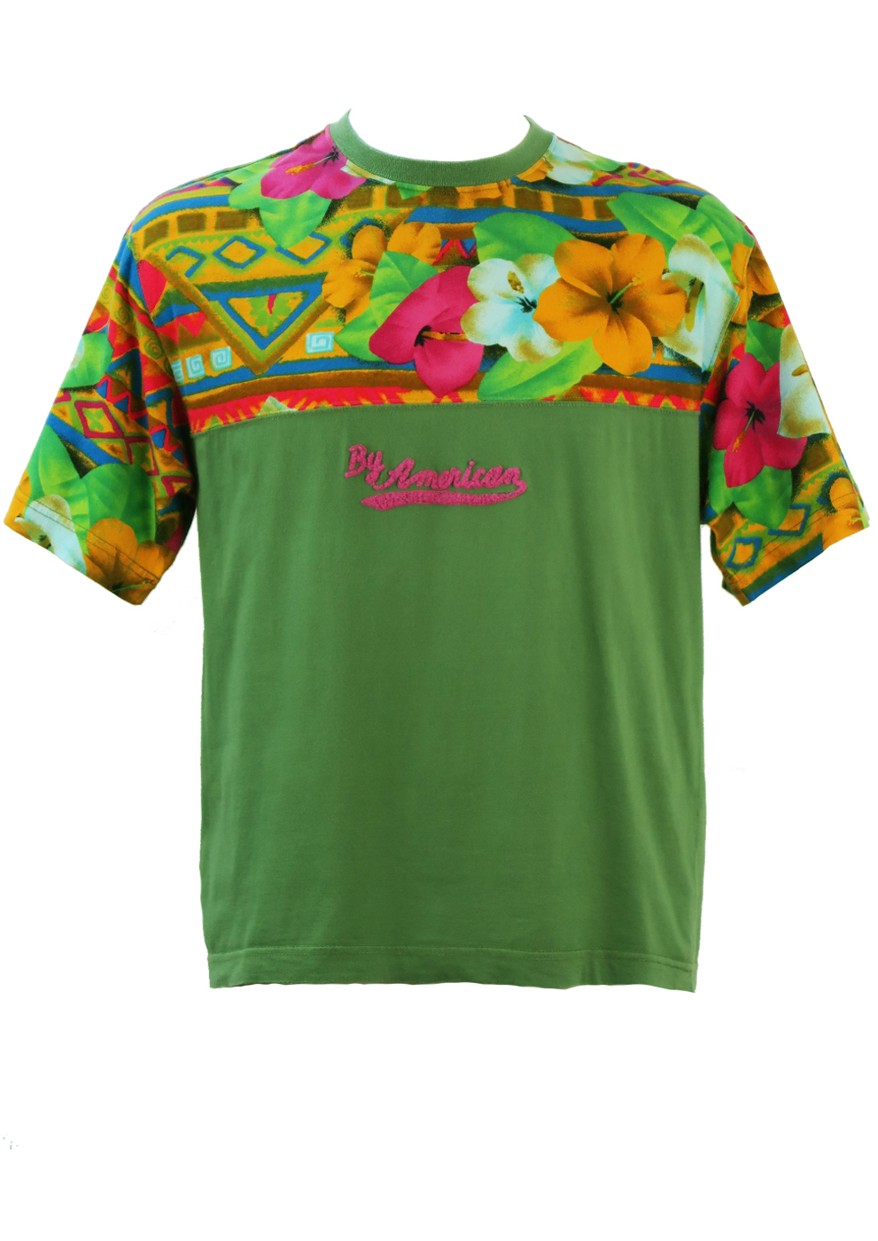 Olive Green T Shirt With Hawaiian Floral Print In Pink