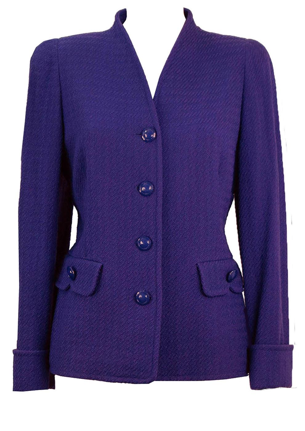 564a04f627 Luisa Spagnoli Pure Wool Violet Jacket – M – Reign Vintage