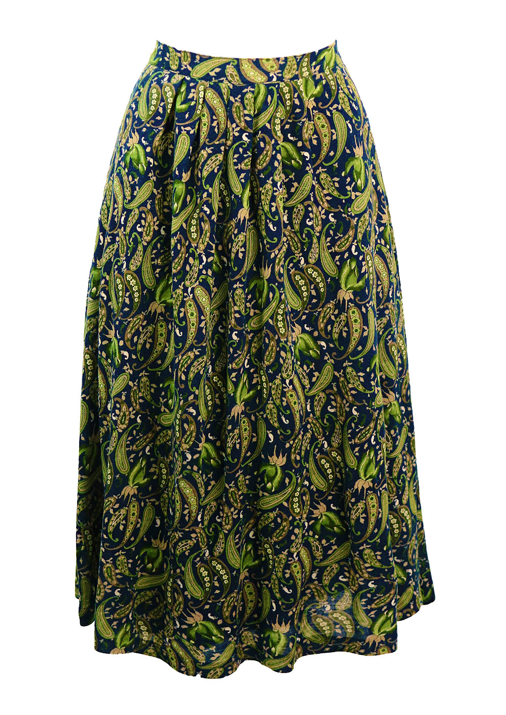 blue green taupe paisley patterned midi length flared