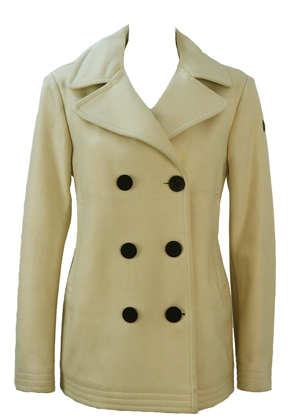 Marina Yachting Cream Double Breasted Wool Pea Coat M Reign Vintage