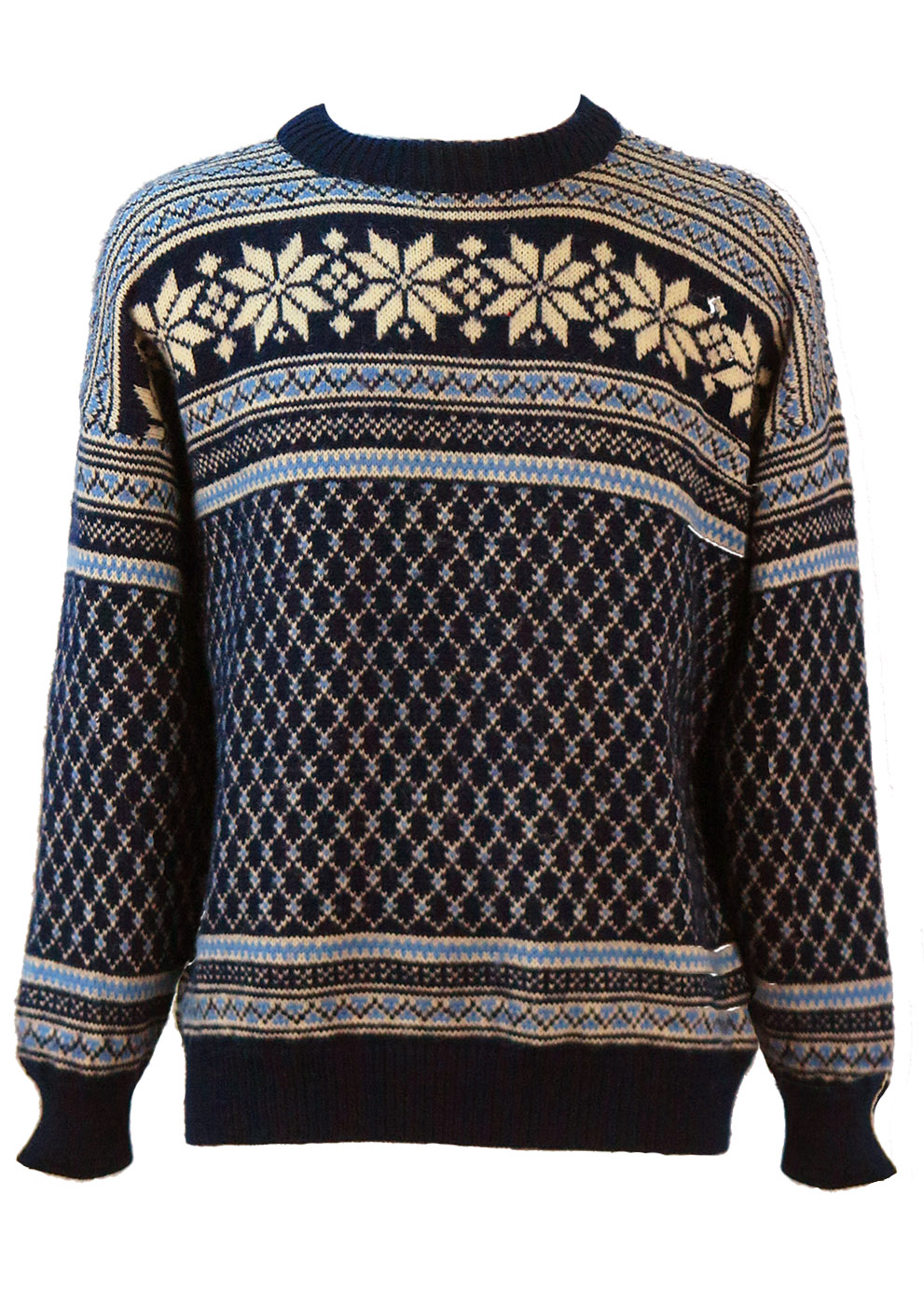 7851cc9318 Nordic Wool Jumper with Intricate Blue   White Pattern – L – Reign ...