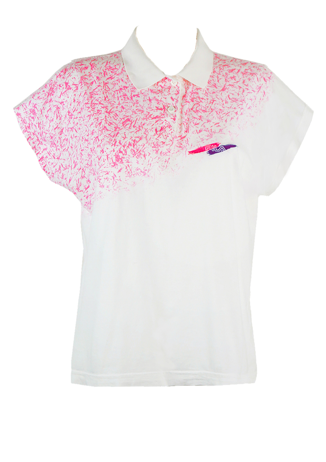 2a90f354 Fila Polo Shirt in White with Flecked Pink Design – M/L – Reign Vintage