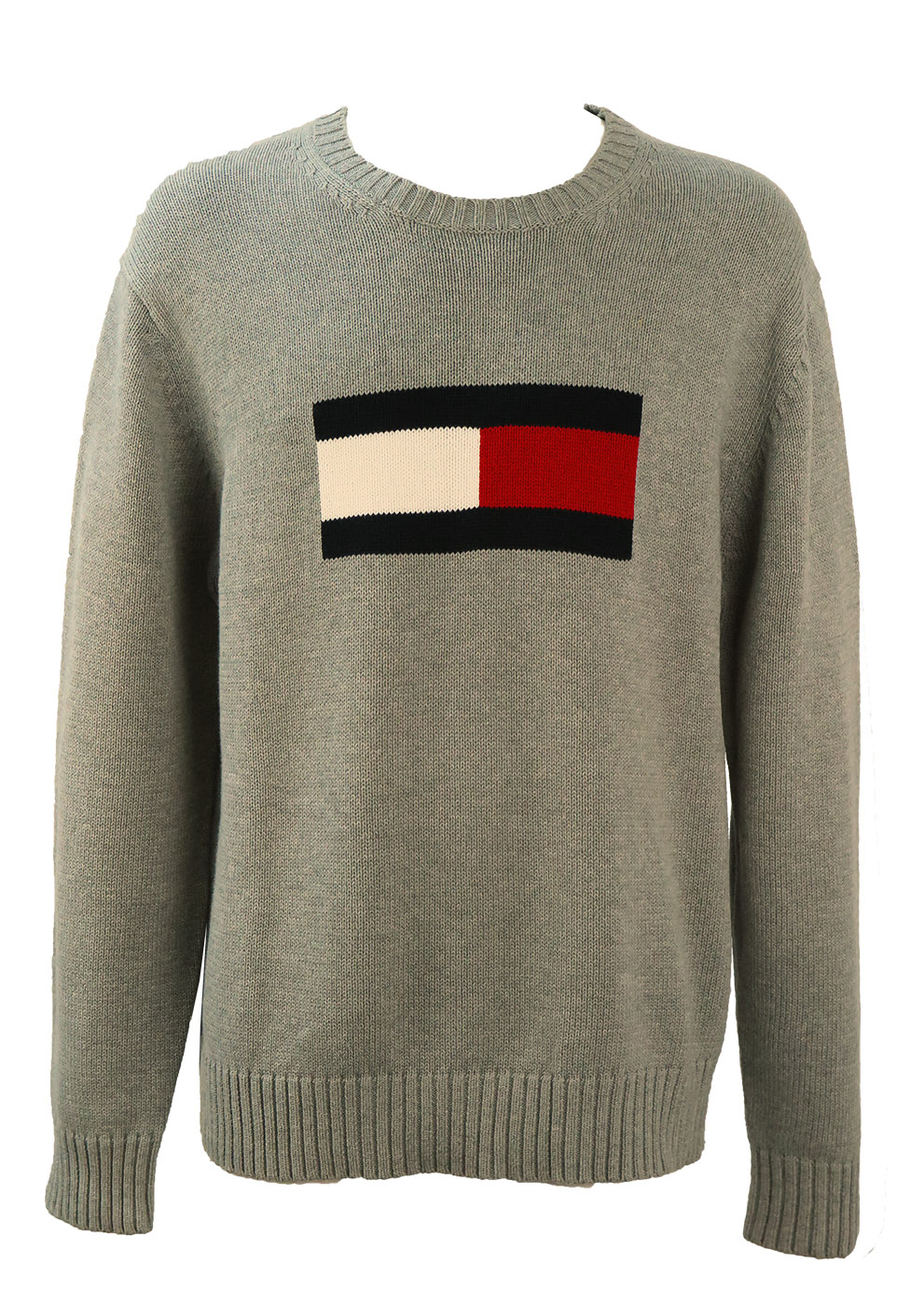 3b1c2d412 Tommy Hilfiger Grey Knit Jumper with Large Logo – XL – Reign Vintage