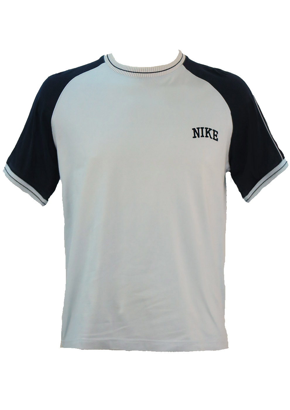 light blue nike t shirt with navy blue sleeve m reign vintage. Black Bedroom Furniture Sets. Home Design Ideas