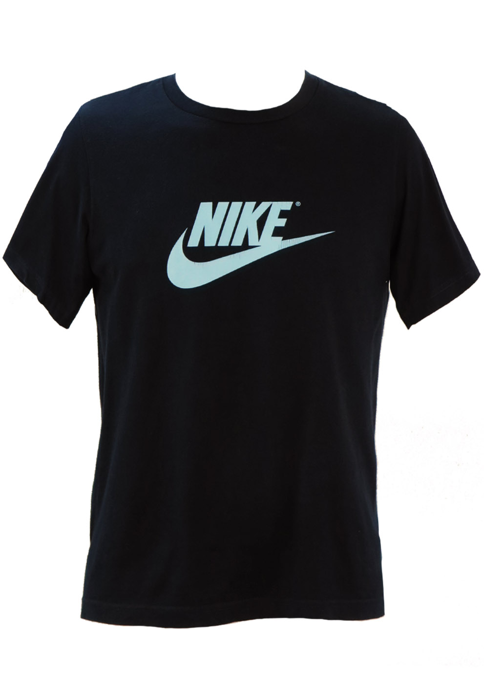 Navy blue nike t shirt with light blue swoosh logo s m for Nike swoosh logo t shirt