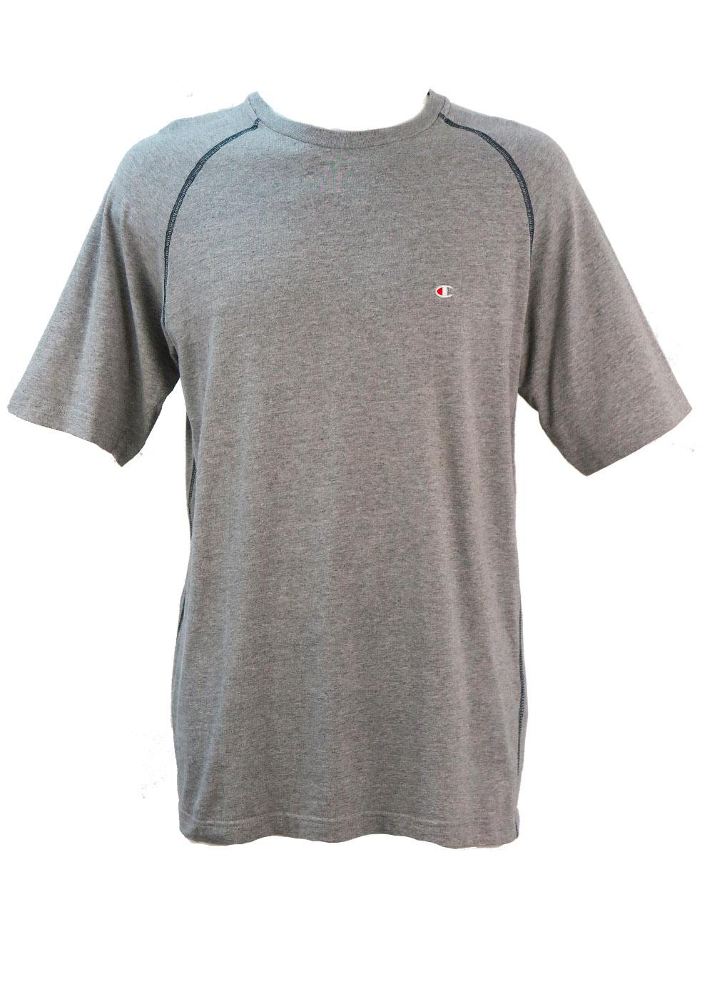 4ba1ca39 Grey Marl Champion T-Shirt with Navy Blue Overlock Stitch Detail – M ...