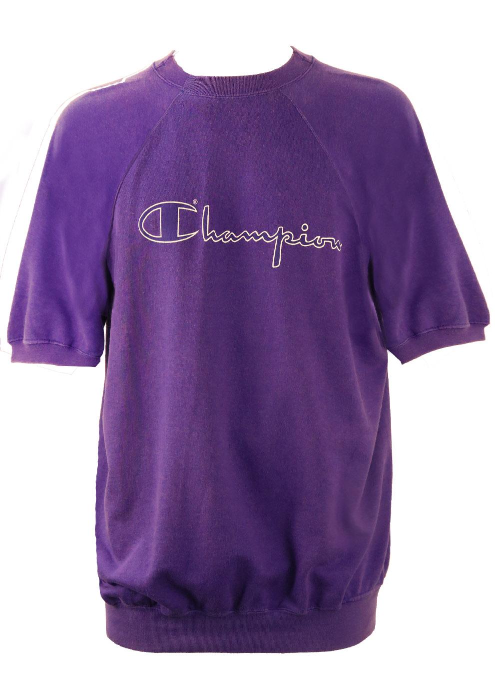 3f6d631d Vintage Champion Purple Short Sleeved Sweatshirt – L/XL – Reign Vintage